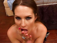 Smoking-hot and divine brunette is sucking his cock so good