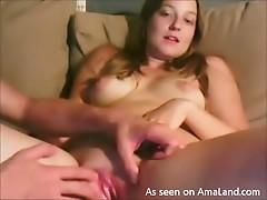 Yummy natural tits girl rubs pussy