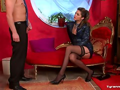 Sexy black stockings on demanding girl