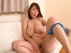 Rin Aoki touching herself
