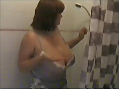 Toni takes a shower