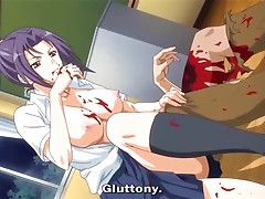 Blonde anime cutie pleases herself with fervent pussy-fingering