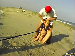 Minami Kojima the hot Asian doll has hardcore sex on the beach