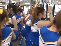 Japanese cheerleaders are having sex in running bus