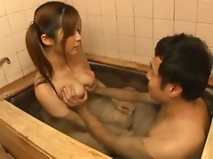 Slim Japanese girl enjoys sucking a cock in the bathroom