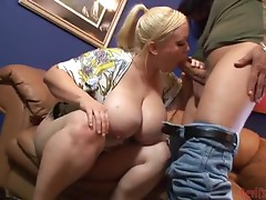 Chubby and Busty Blonde Chick Gets Fucked and Creamed