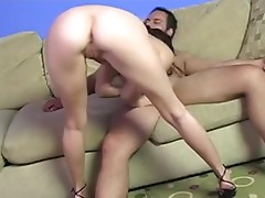 Pretty brown-haired girl blows and gets a facial cumshot