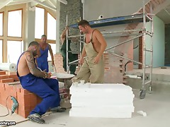 Hot Aletta Ocean fucks two workers instead of payment