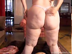 Gorgeous older BBW with nice big titties enjoys a long hard fuck and a sticky facial cumshot