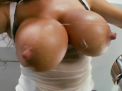Big breasted Brandy Talore fingers her pussy and licks boobs