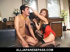 Asian dominant-bitch gives her slave a rough oral-job