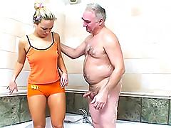 Hot Blonde Sucks and Fucks an Older Man's Small Dick