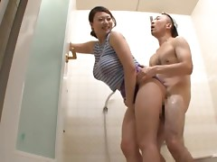 Nachi Kurosawa is a busty babe getting banged in the shower