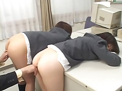 Two slutty Japanese girls in school uniform get fingered and toyed