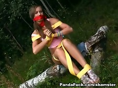 Naughty girl was bound and drilled by Panda