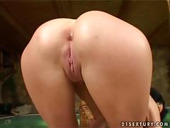 Busty brunette Vanda plays with her huge dildo