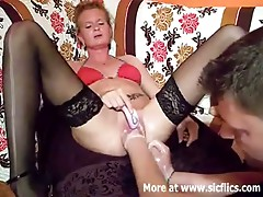 Fist fucking the wifes giant cum-hole till that babe squ