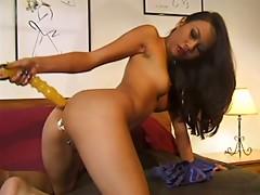 Hot Oriental chick masturbating