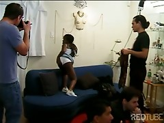 Ebony midget banged by lustful guys