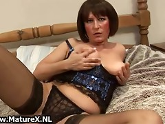 Aged mommy in hot black stockings