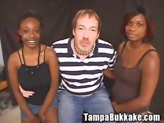 Ebony cuties on bukkake gangbang party