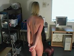 Masturbating blond gets spanked by mamma