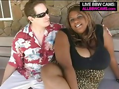 Dark Braded Bbw Sits On White Chap  Part 1