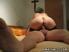 Mature and busty amateur wife oral-job with anal creampie