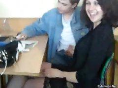 Handjob in classroom -