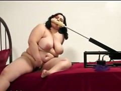 chubby brunette hair masturbating with machine