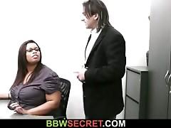 Married boss seduces his overweight ebony secretary