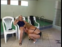 Mature Lesbos fuck by the pool