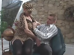 Huge-Boobs-Granny Outdoors by young Stud