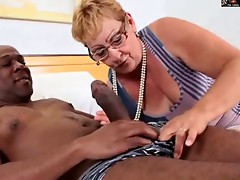 Hirsute GRANNY IN GLASSES GETS Big black cock