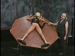 Stunning hairless pussy dick engulfing blonde whore is roped up in the basement