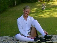 British slut Alex plays with herself in the garden