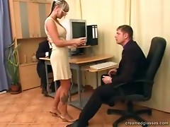 This lady has just been taken on and everything screws up. Her boss tells her she can't keep her job this way but this slut is prepared to do anything to stay. Ze opens his fly and takes out his hard schlong in order to suck it. Immediately his colleagues