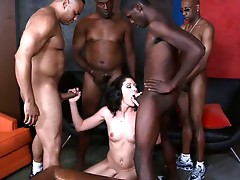 Some sluts just need a massive black dick...or in this case FOUR HUGE Dark DICKS! Katie is definitely no beauty as she gags on ebony erections while getting double stuffed in an anal-aching, twat-tearing DP gang bang! After the gang gangbang squad leaves