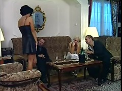 Hot brunette & golden-haired milf 90s anal job facial dp VDV