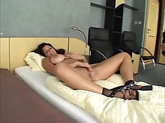 Brunette hair with Huge-Boobs hard gangbanged