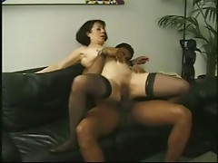 Vintage older Anne Andersson drilled by a large dark cock