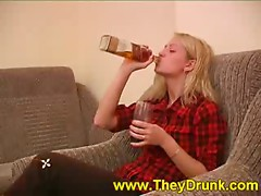 Get a girl drunk and the world is yours, as you can watch in this hot scene. Non-professional blonde Valeria is chasing shots with Coca Cola and soon sufficiently she's drinking str8 from the bottle because she's feeling so good. She spends a lot of time