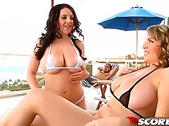 Threesome with two breasty babes