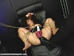 Japanese Submissive Sex Slave Bound In Rope And Drilled By FemDom And MaleDom