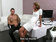 Fit female agent fucks tattooed guy in office