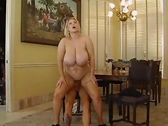 Breathtaking Blonde With Massive Mangos Takes Large Rod