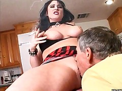 Hot chubby mama gets face dripping with cum