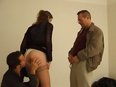 FRENCH CASTING 87 blonde butt slam babe with older man trio