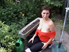 Working in the garden with titties out - spy - voyeur movie