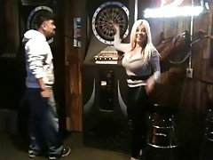 Blonde With Heavy Wobblers Playing Darts